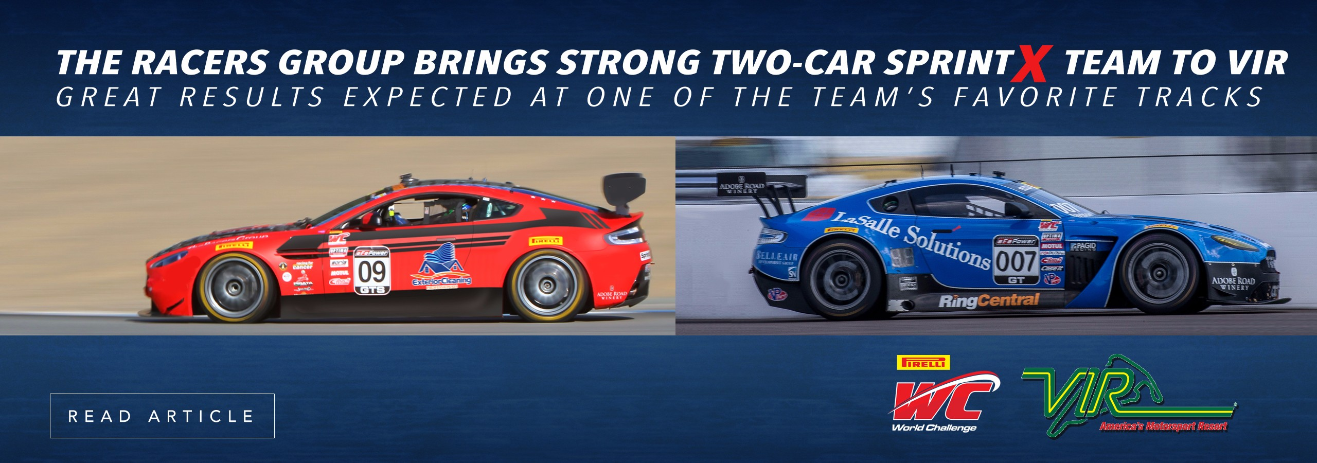 THE RACERS GROUP BRINGS STRONG TWO-CAR SPRINTX TEAM TO VIR Great results expected at one of the team's favorite tracks