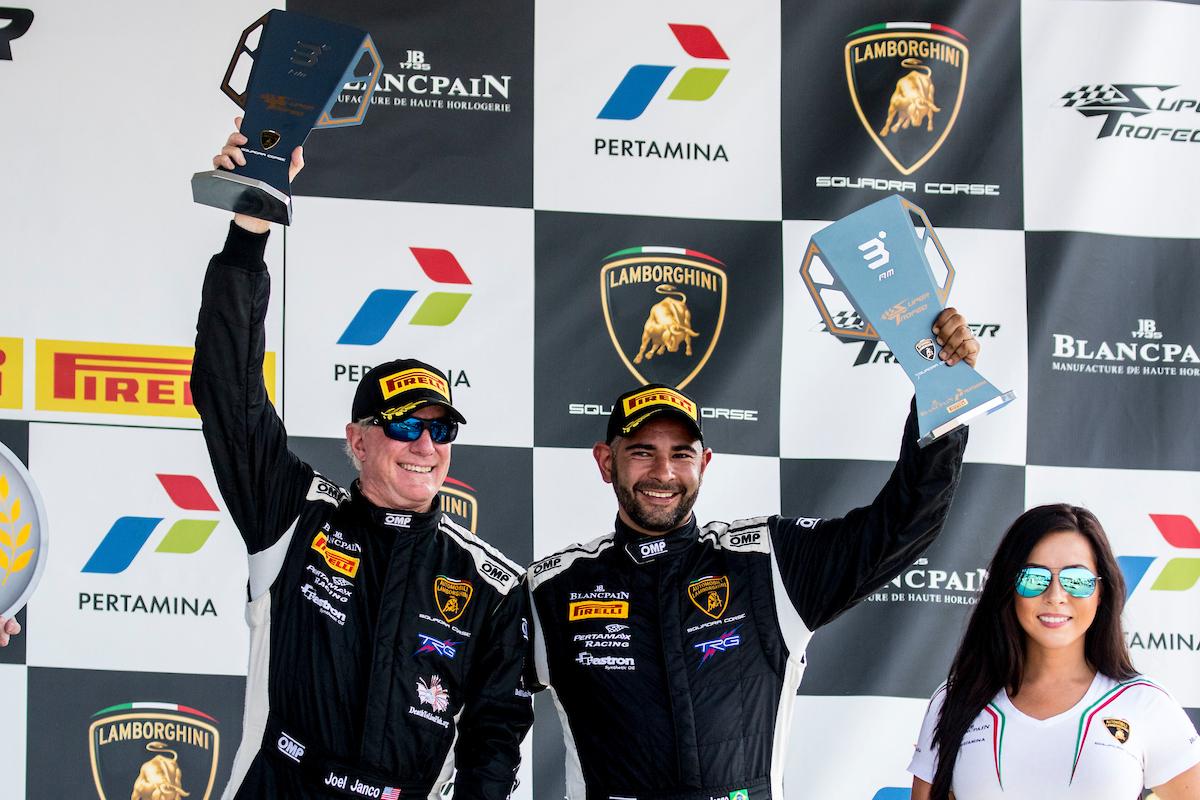 Joel Janco, Jonatan Jorge on the Lamborghini Super Trofeo podium at VIR