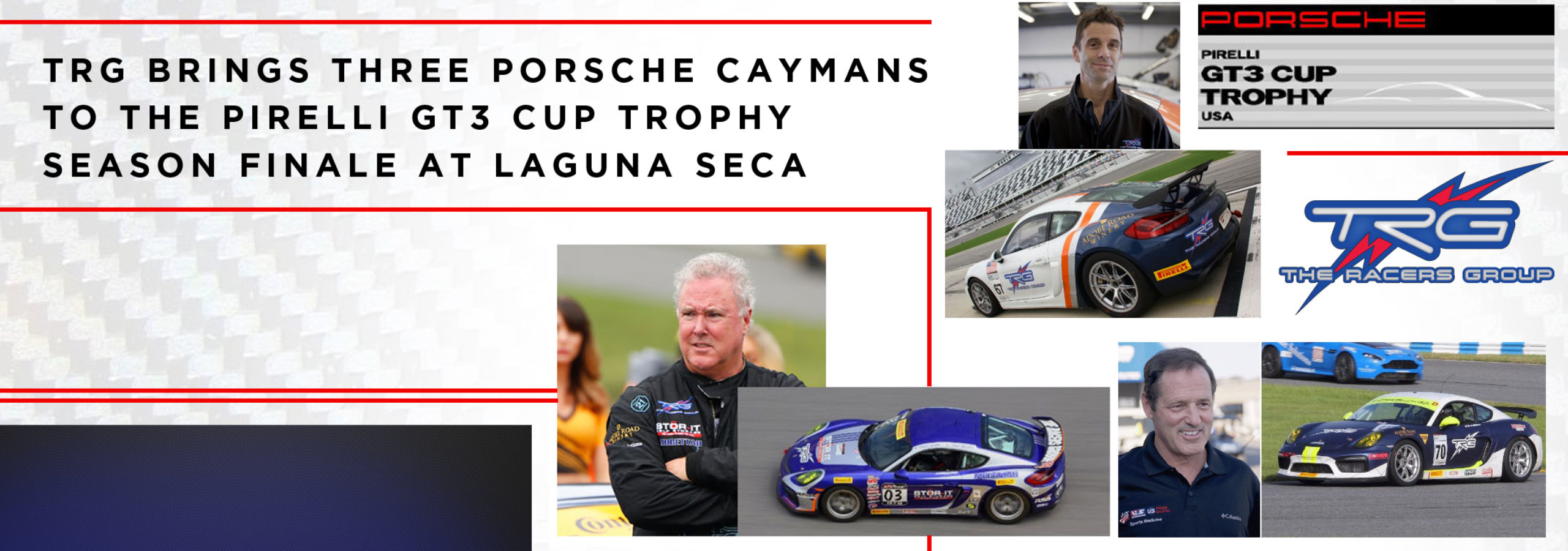 TRG Brings Three Porsche Caymans to the Pirelli GT3 Cup Trophy Season Finale at Laguna Seca