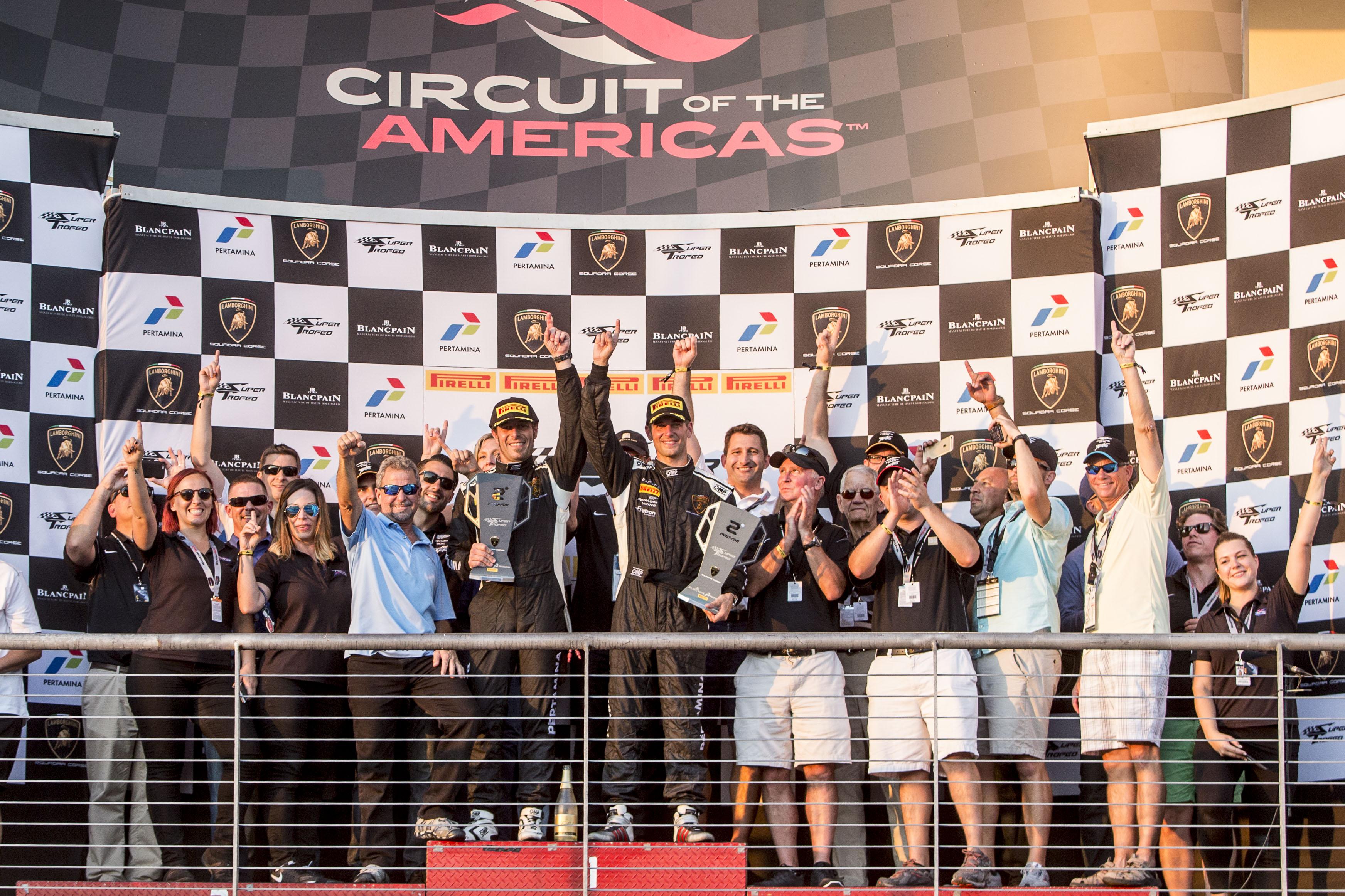 TRG Lamborghini Celebrates On The Circuit of The Americas Podium