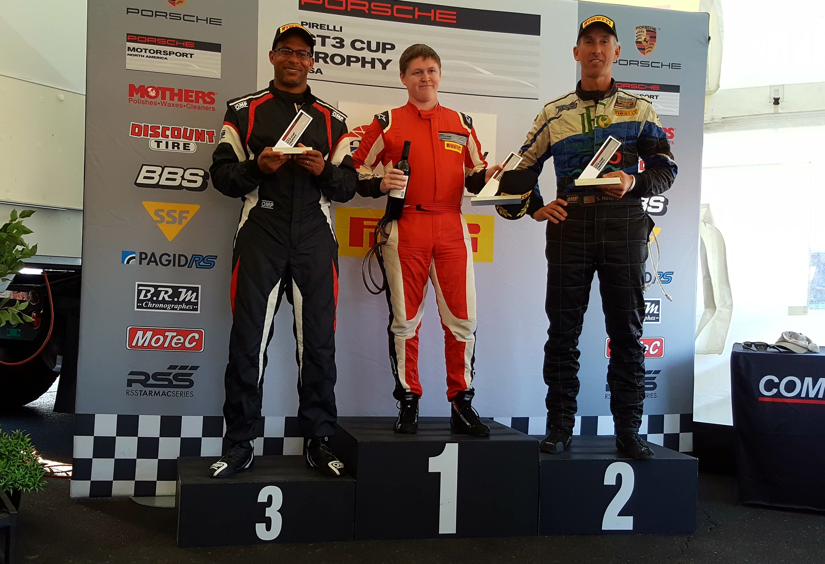 Steve Miller On The Podium at Sonoma Porsche Pirelli GT3 Cup Race